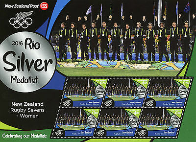 New Zealand NZ 2016 MNH Rio Silver Rugby Sevens Women 6v M/S Olympics Stamps
