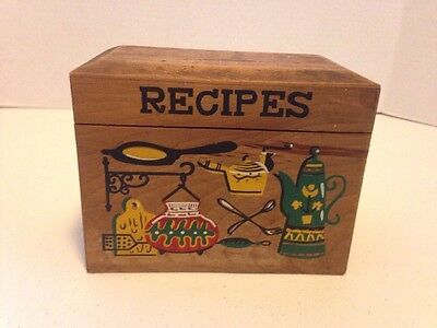 Vintage Nevco Wooden Recipe Box Retro Kitchen Japan With Recipes Inside