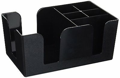 Commercial Plastic Table Top Bar Caddy Organizer Black w/ 6 Compartments