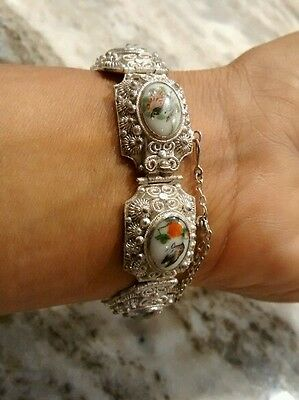 Stunning antique Chinese export painted birds flowers porcelain silver bracelet