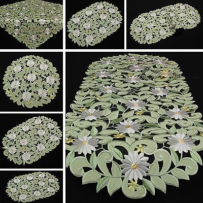 Green Doily Table runner Tablecloth White Marguerite Openwork/Cutwork Embroidery