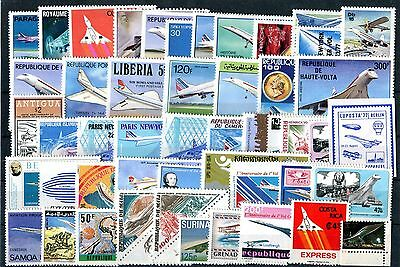 AVIATION CONCORDE collection of 50 stamps MNH (186)