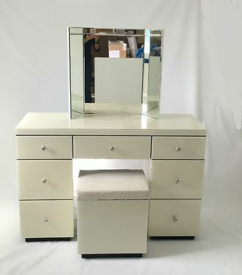Ivory Cream Venetian Glass Large Dressing Table & Stool Set (No Mirror)