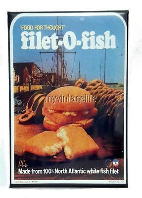 "Vintage McDONALD'S Filet-O-Fish SANDWICH 2"" x 3"" Fridge MAGNET Art Fast Food"