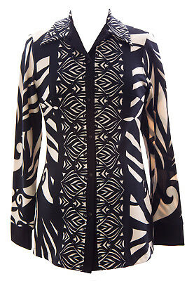 OLIAN Women's Black & Beige Button Down Collared Maternity Sweater $113 NWT