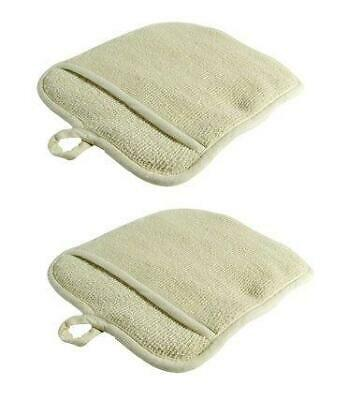 2 Pot Holders Large Terry Cloth w/Pocket, Potholders, Oven Mitts, Heat-resistant
