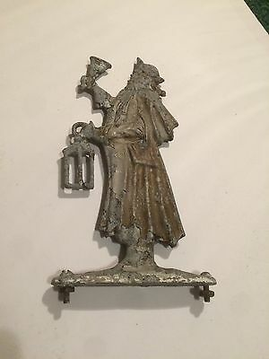Old Antique Vintage Boat Ornament Cast Metal Man Holding Lamp Colonial
