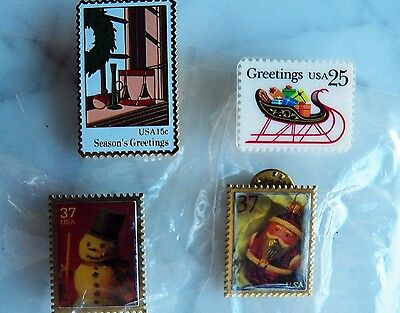 Lot 4 CHRISTMAS STAMPS Lapel PINS Genuine Laminated 25 cent Stamp SANTA Snowman