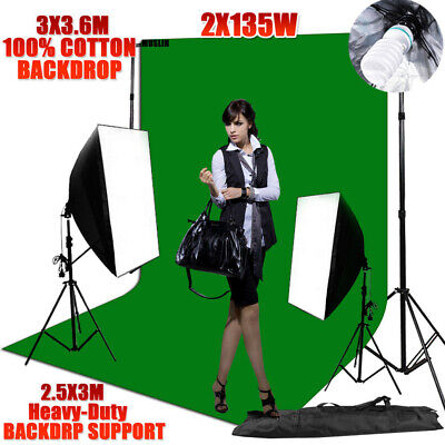 3x3.6m Green Screen Studio Softbox Lighting Soft Box Backdrop Stand Support Kit