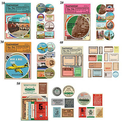 1 Set Vintage Travel Journey Paper Stickers DIY Photo Ablum Diary Scrapbook