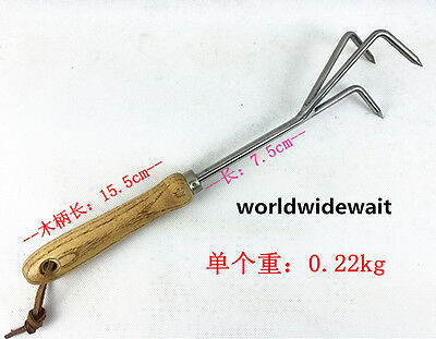 Garden Tool Stainless Steel Three Teeth Grass Rake Fit Loosen Soil & Weeding