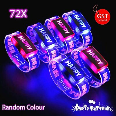 72X LED Flashing Bracelet Color Changing Wristband Bangle Glow in the dark Party