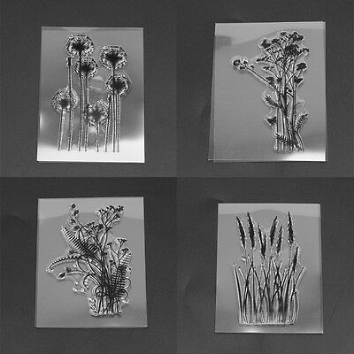 Flower&Grass Sheet Transparent Silicone Clear Stamp Cling Seal Scrapbooking DIY