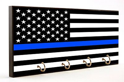 Black & Whte Blue Line American Flag Design Key Hanger with Car Coaster