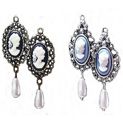 Earrings, Cameo and Pearl, choose bronze or silver, blue or black, and fittings