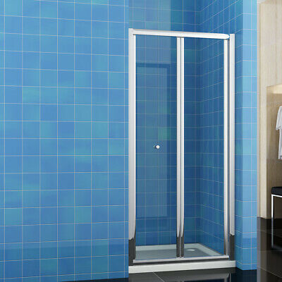 Bifold Shower Door Enclosure Glass Screen Cubicle and Tray Free Waste