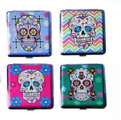 Candy Skull Cigarette Hard Case Assorted Colours Holder Push Tobacco Holds 20