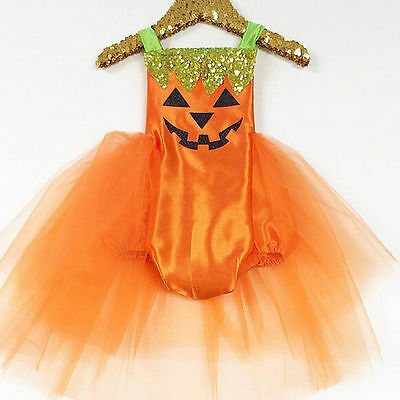 Baby Infant Girl Halloween Pumpkin Romper Bodysuit Dress Costume Clothes Outfit