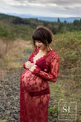 Wine Red Lace Maternity Dress - Photography Photo Prop