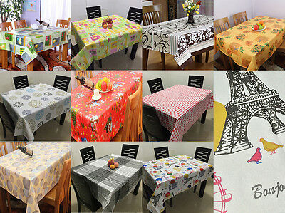 Waterproof Wipe Clean PVC Vinyl Tablecloth Dining Kitchen Table Cover Protector