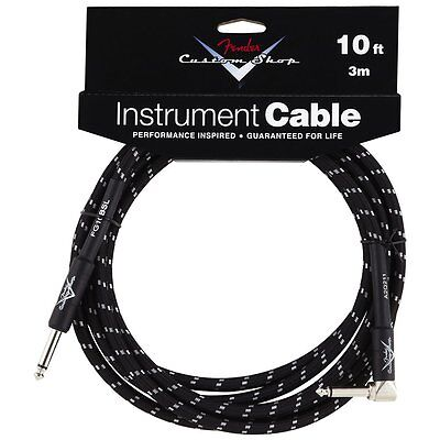 Genuine Fender Custom Shop Black Tweed Guitar Cable - 10foot - Right Angle