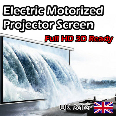 "Electric Motorized Projector Screen 100"" 4:3 Aspect Ratio For HD 3D with Remote"