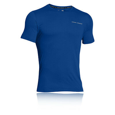 Under Armour Charged Coton Hommes Bleu Manche Courte Running T-shirt Tee Top