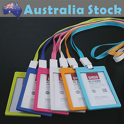 Colorful ECO Friendly Plastic ID Card Holder Name Tag Lanyard  Neck Strap