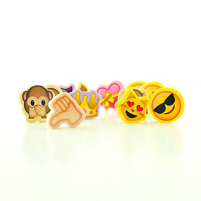 12 Emoticon Novelty Eraser Rubber Party Bag Fillers Kids Stationary Party Gifts