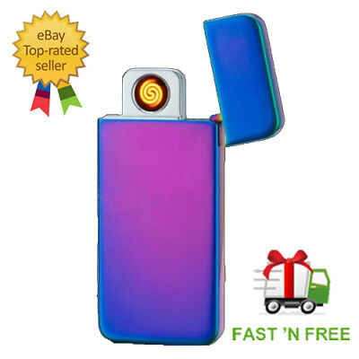 NEW Electric CHARGEABLE GLOW LIGHTER Flameless Metal Cigarette Gift UK