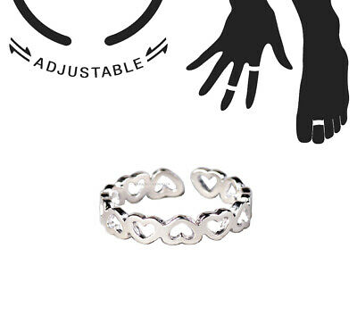 Silver Forever Love Heart Band Toe/Thumb/Finger/Knuckle Ring Stack-able