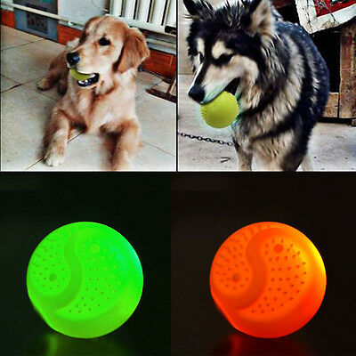 Pet Puppy Cat Dog Led Luminous Rubber Chew Elastic Ball Bite Resistant Funny Toy