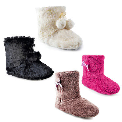 Womens Ladies Slipper Boots Booties Faux Fur Furry Super Soft Cosy Warm Fleece