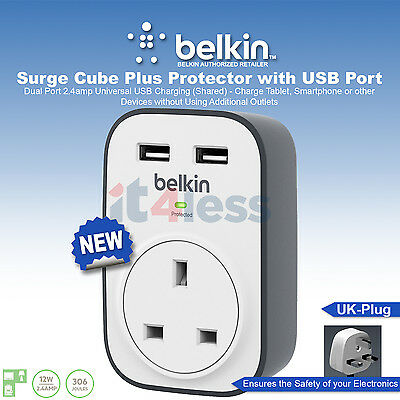 Belkin Surge Cube Plus Protector with USB Port 2.4Amp BSV103af UK Plug