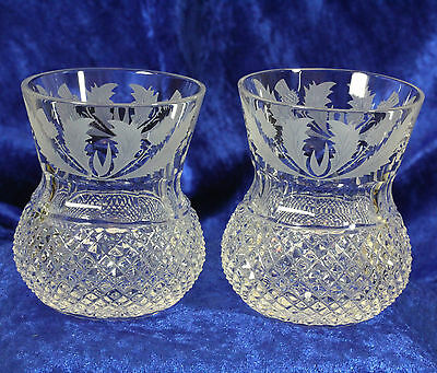 2x Edinburgh Crystal Thistle Whisky Whiskey Tumblers 3 1/4 in. Signed & Pristine