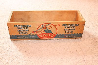Valio Cheese Box Gruyere from Finland Wood Crate Advertising Graphics Vintage