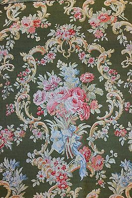 French Antique c1890 Roses, Ribbons & Scrolls 19thC Woven Jacquard Fabric