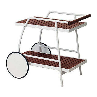 CAN BE MOVED EASILY Trolley, outdoor VINDALSÖ White/brown stained