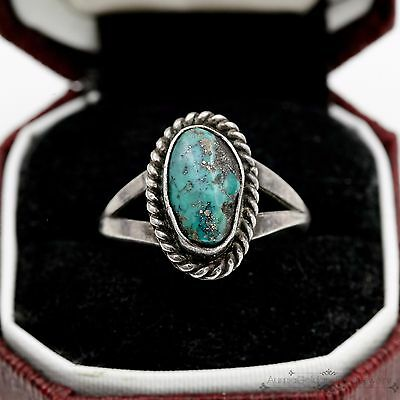 Antique Vintage Sterling Silver Native Pawn Navajo Apache Turquoise Ring Sz 7.25