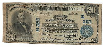 1920 $20 NATIONAL CURRENCY BANK NOTE PITTSBURGH PA CHARTER 252 Fr 658 NBN