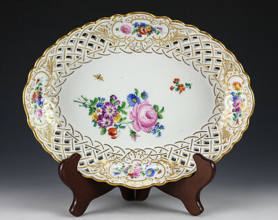 Meissen Porcelain Reticulated Oval Serving Dish Plate c1940 Hand Painted Florals