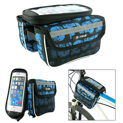 Cycling Bicycle Bike Frame Front Pannier Saddle Top Tube Double Bag Pouch Holder
