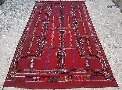 4.7 X 8.2 Ft. Old Central Anatolian Konya Cicim Embroidery Rug, Large Red Kilim