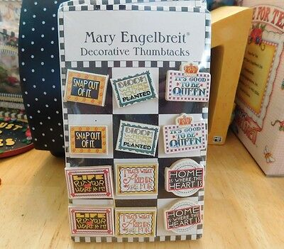 Mary Engelbreit~12 Decorative Thumbtacks ~ New In Package