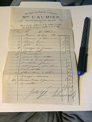 Historic Vintage Receipt Invoice Bill  History Paris France Laundress Laundry