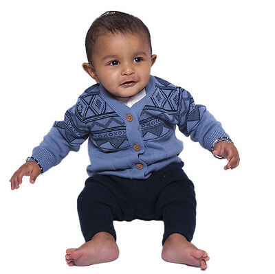 Knitted Fairisle V neck buttoned cardigan, 100% organic cotton, baby-6 yrs sizes