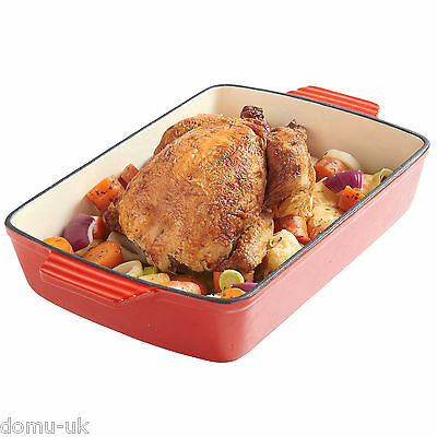 VonShef Cast Iron Roasting Dish Casserole Cooking Enamel Tray Oven Cookware