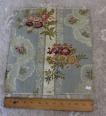 French Antique Floral & Lace Brocaded Silk Lampas Fabric Textile c1890-1900