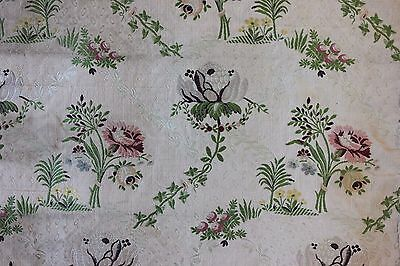 Antique 19thC French Silk Brocade Home Dec Fabric Textile~18thC Design