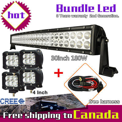 "30inch 180W Curved LED Light Bar + 2x 4"" CREE Pods Led Work Light Truck Jeep SUV"